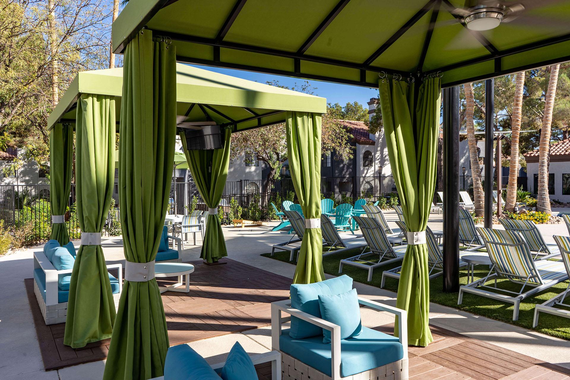 Interior Poolside Custom Cabanas by Metro Awnings of Las Vegas, Nevada